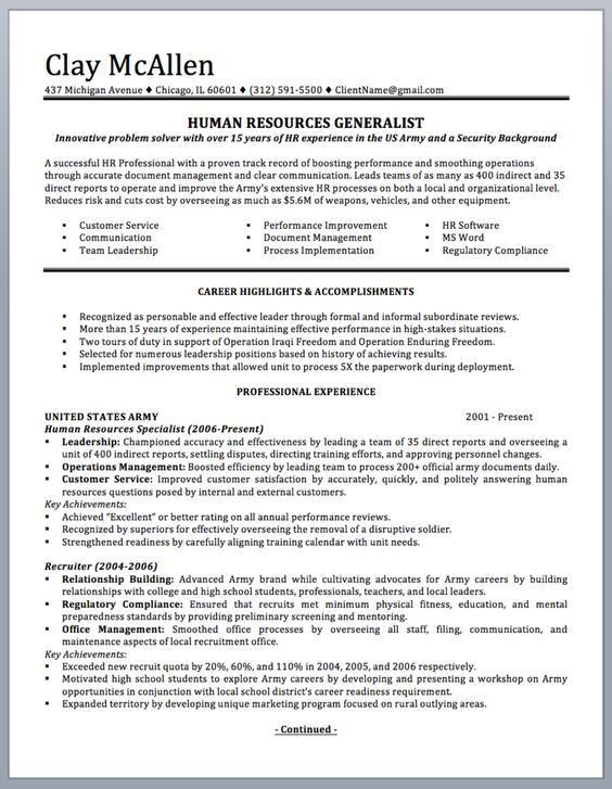 Professionally written military resume to civilian sample and ...