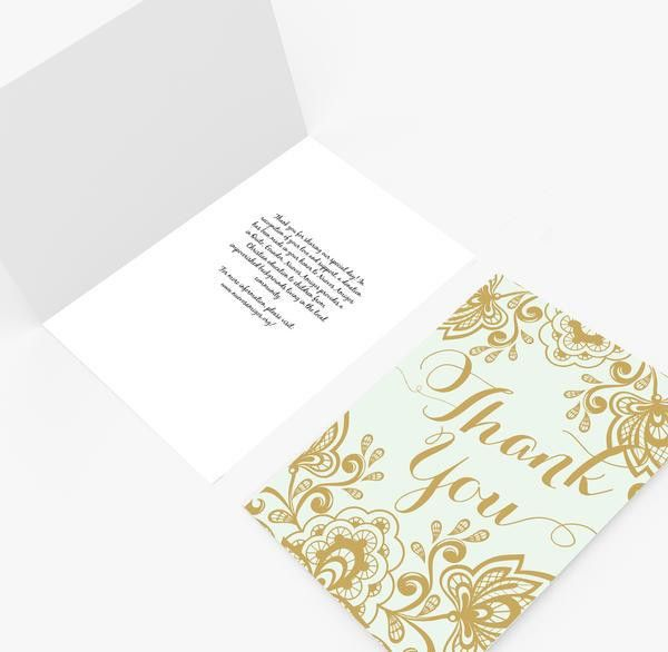 Thank you card DIY   Editable MS Word Template   Lace Mint and ...