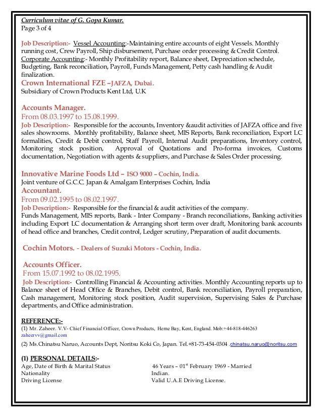 CV of Gopa Kumar Finance Professional