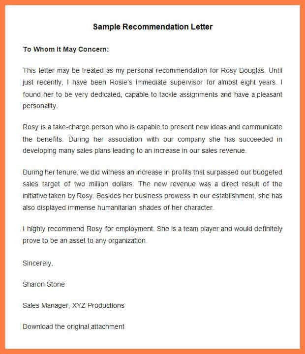 9+ recommendation letter sample for company | Company Letterhead