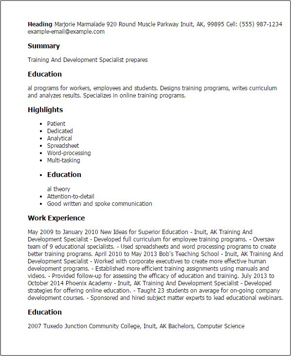 Professional Training And Development Specialist Templates to ...