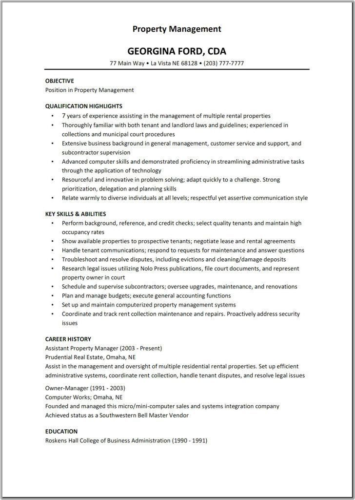 Download Property Manager Resume Sample | haadyaooverbayresort.com