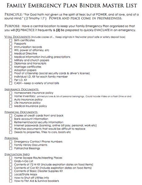 FREE PRINTABLES to create a Family Emergency Plan Binder | SHTF ...