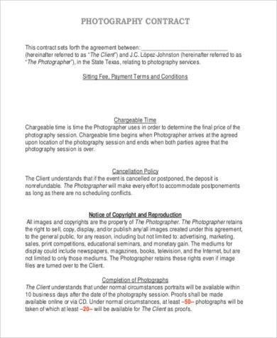 Photography Services Contract. Photography Contract Template 15+ ...