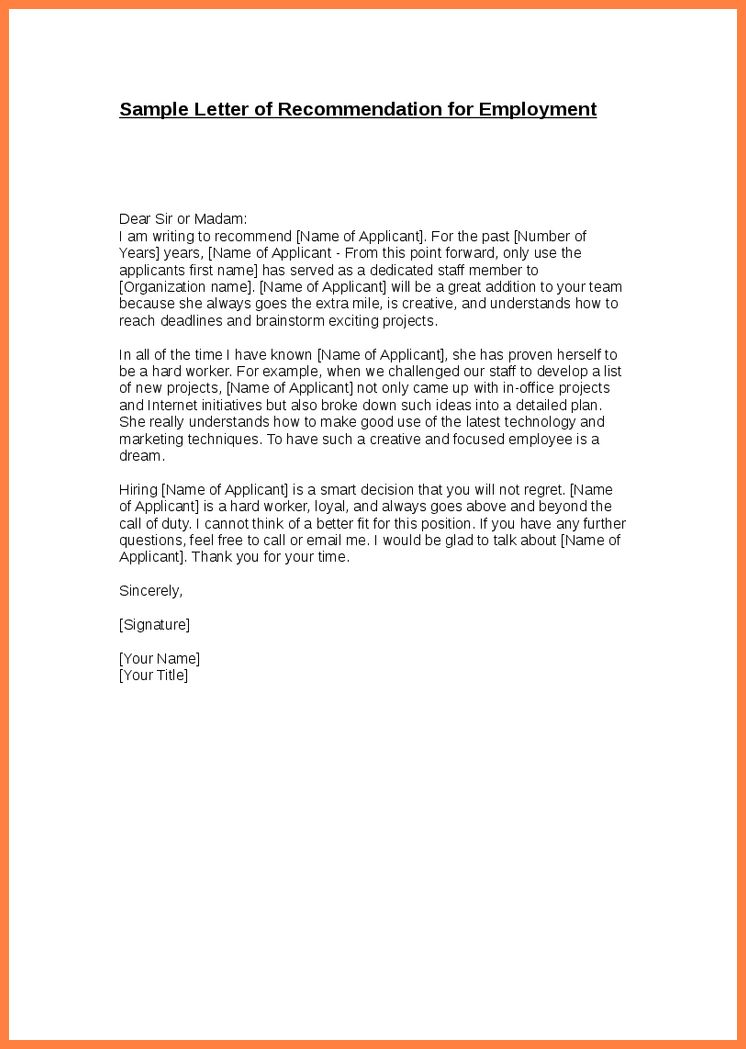 8+ letter of recommendation template from employer | Life ...