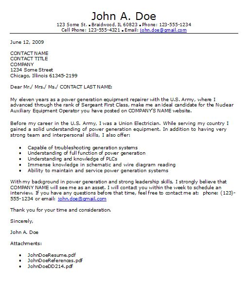 Military Cover Letters | Basic Resume Templates