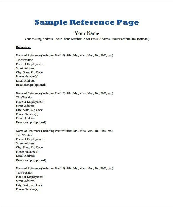 Sample Reference Page Template - 9+ Documents in PDF