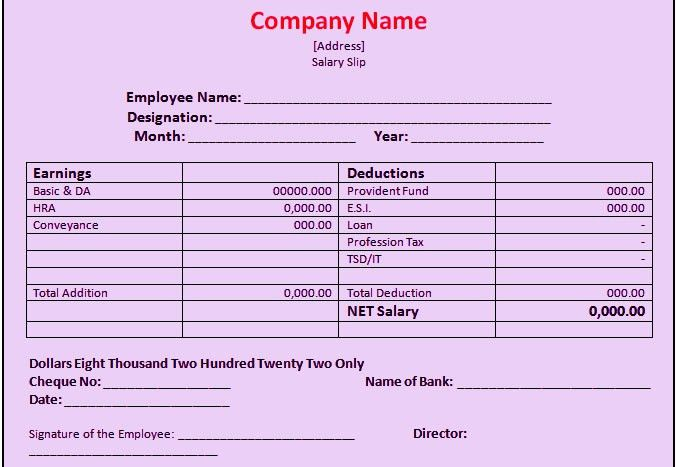 Pay Slip Format Sample – Plain Word Document – Microsoft Word ...