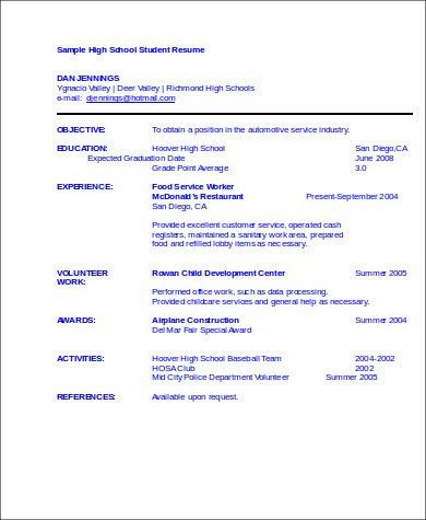 High School Resume Template For College. Sample Student Internship ...