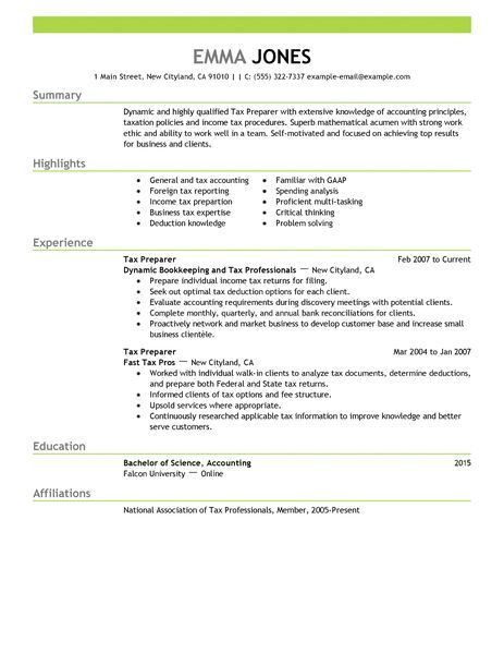 Best Tax Preparer Resume Example | LiveCareer