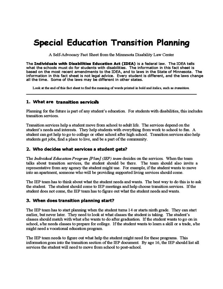 Special Education Transition Planning Template Free Download