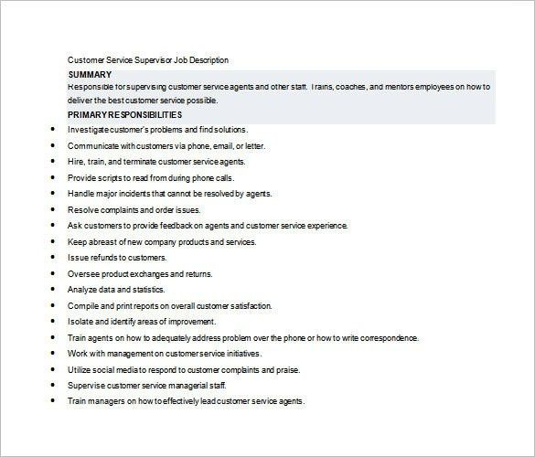 10+ Supervisor Job Description Templates – Free Sample, Example ...