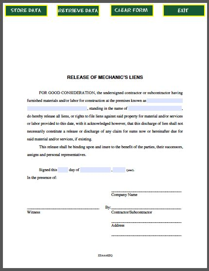 Release of Mechanic's Liens Certificate Template | Business ...