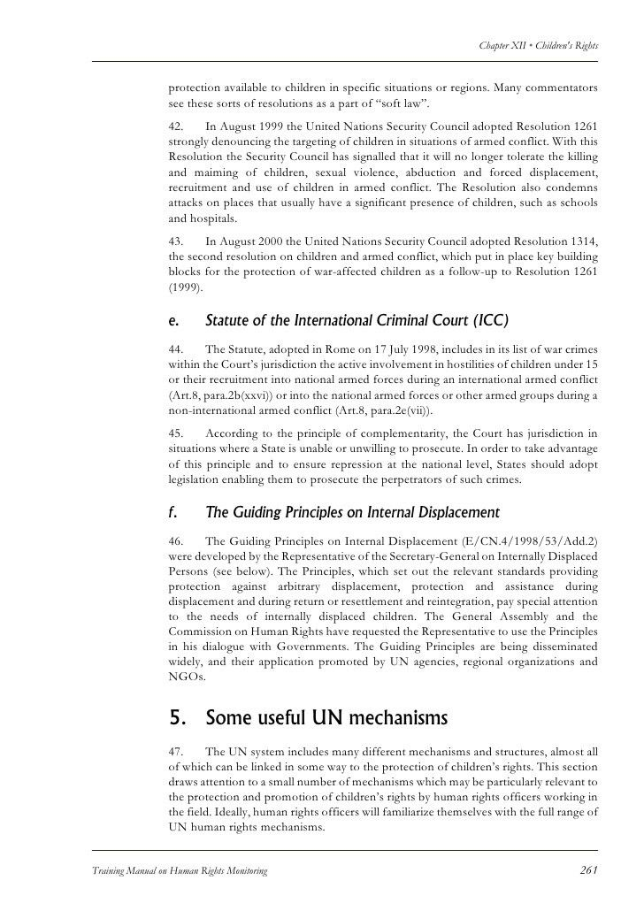 Training Manual On Human Rights Monitoring - Chapter On Children's Ri…