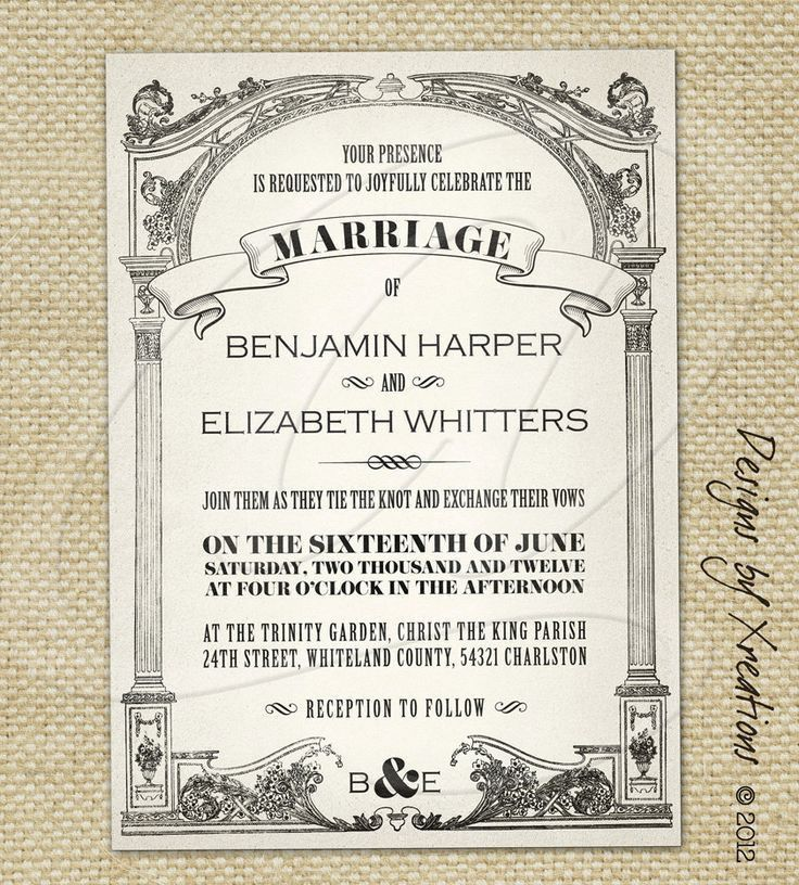 Vintage Wedding Invitations | Vintage wedding invitation templates ...