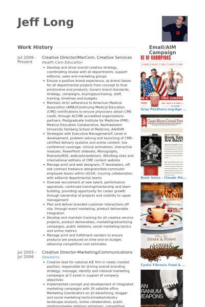 Creative Director CV Örneği - VisualCV Özgeçmiş Örnekleri Veritabanı