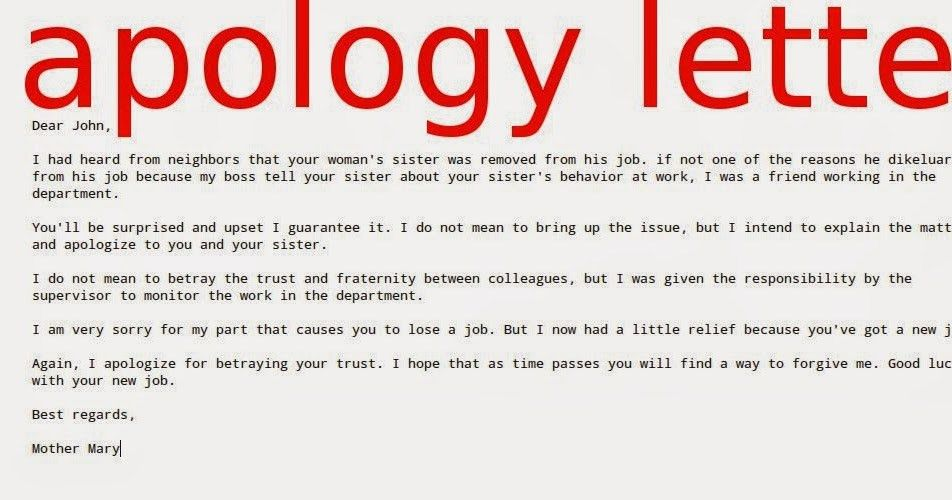 Interesting Apology Letter Example To Boss for The Incident : Thogati