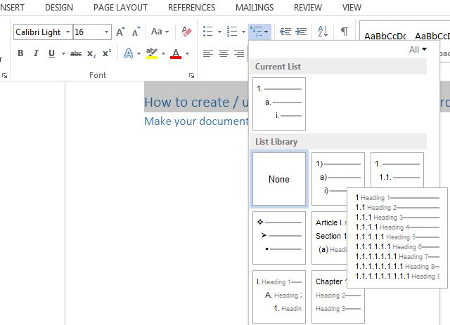 Tips and tricks to create a table of contents in Word 2010