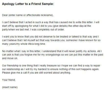 Apology Letter to a Friend Sample | Just Letter Templates