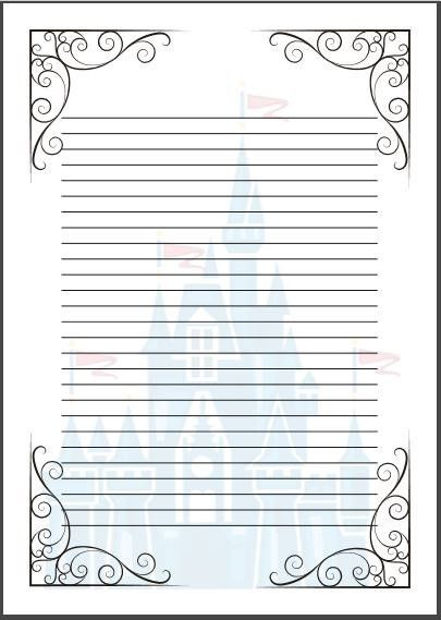 Fairy-tale writing paper template. A4 Cinderella Disney