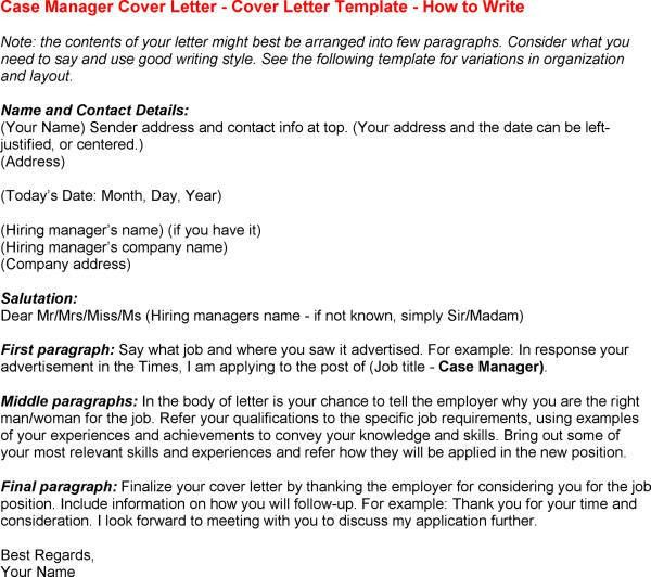 sample cover letter for case manager position case manager bakery ...