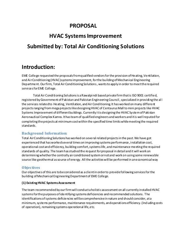 Sample proposal for HVAC improvement
