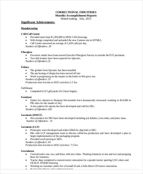 Accomplishment Report Sample - 8+ Examples in Word, PDF
