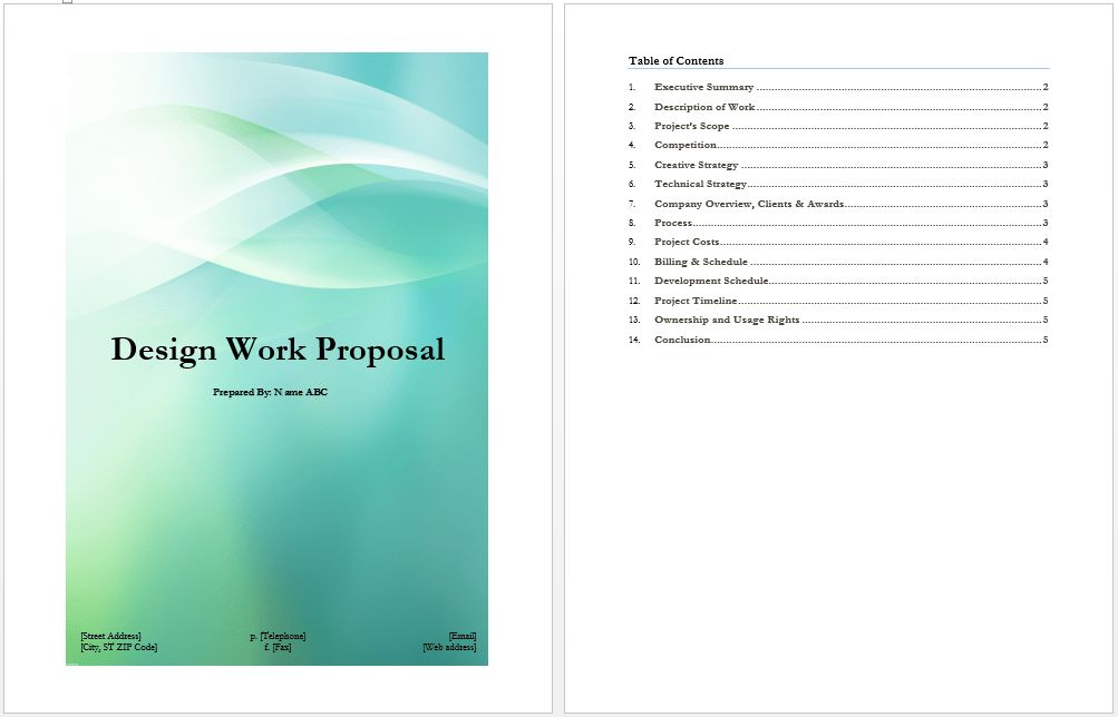 Design Proposal Format | Microsoft Word Templates