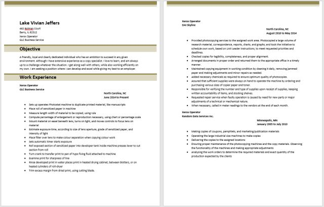 Embroidery Machine Operator Sample Resume Resume For A Machine - xerox operator resume