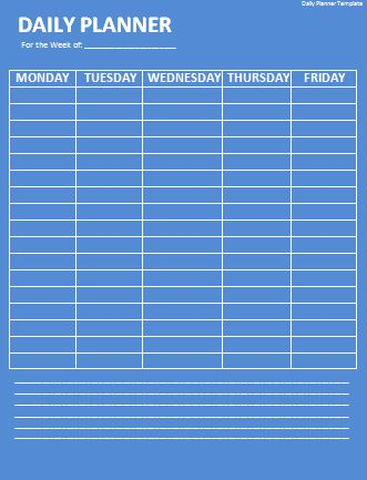 Daily Planner Template | Wordtemplateshub.com