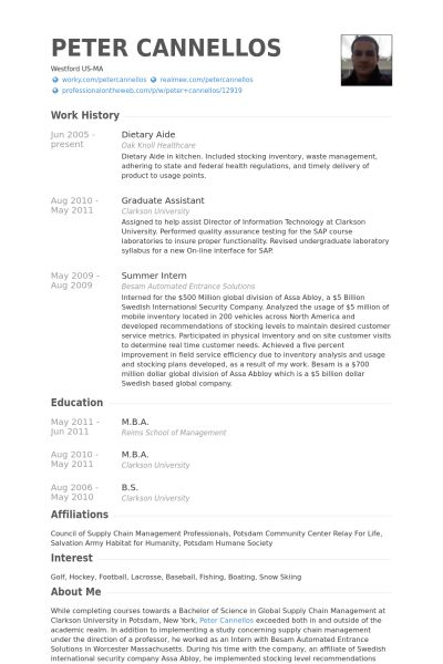 Dietary Aide Resume samples - VisualCV resume samples database