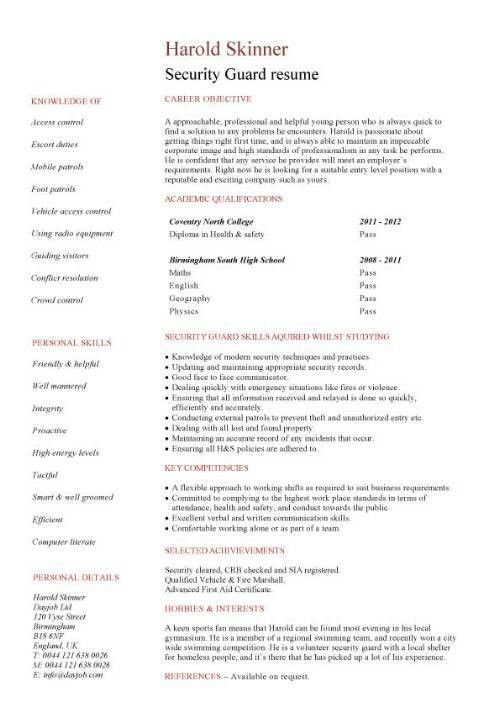 security resume unforgettable security guard resume examples to
