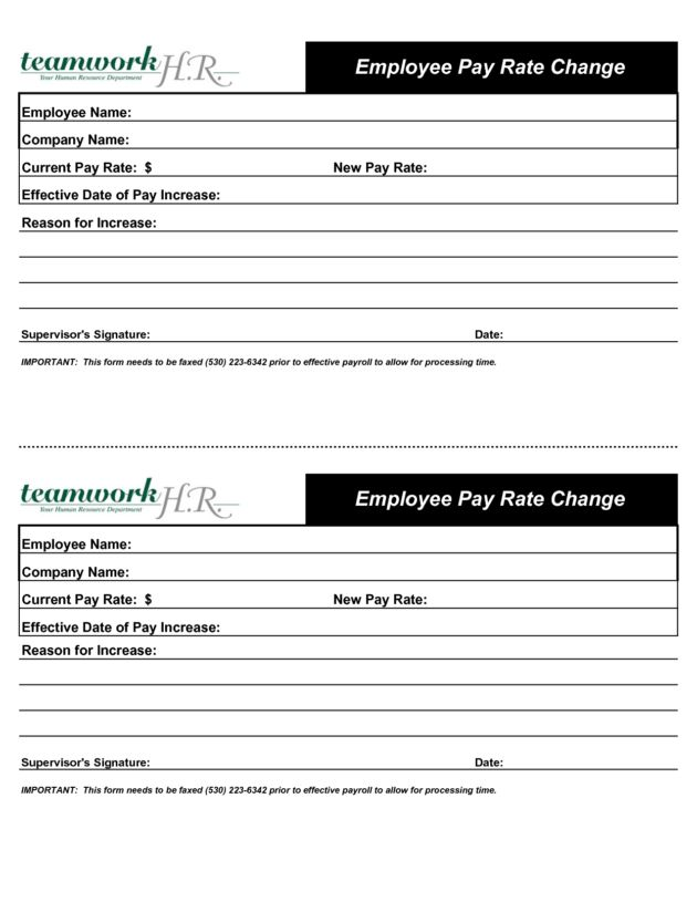 Employee Pay Rate Change Increase Form Designed by nhz10206 ...