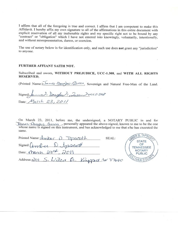 Sovereign Affidavit of Truth - Tennessee Free Download