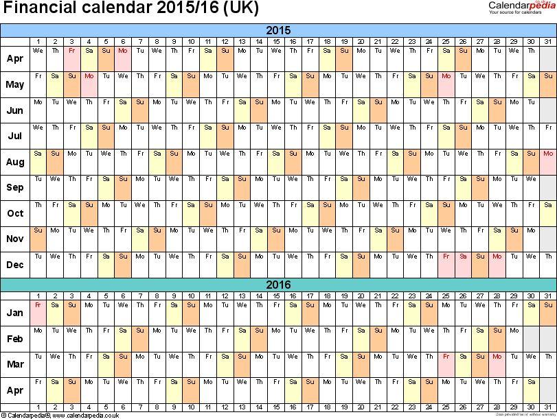 Financial calendars 2015/16 (UK) in Microsoft Word format