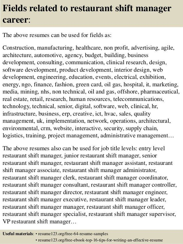 shift manager resumes