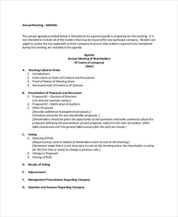 Sample Meeting Agenda - 20+ Examples in PDF, Word