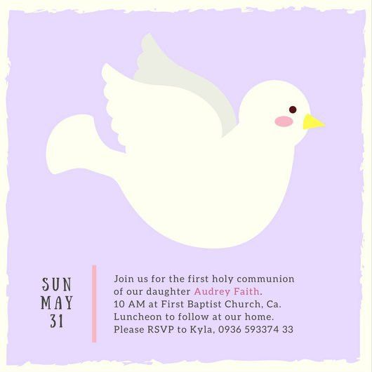 Pastel Illustrated Dove First Communion Invitation - Templates by ...