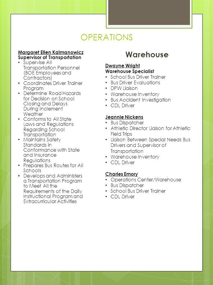 Central Job Office Job Responsibilities (410) Chesterfield Ave ...