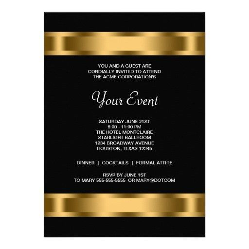 Event Invitation. Black Gold Black Corporate Party Event Template ...