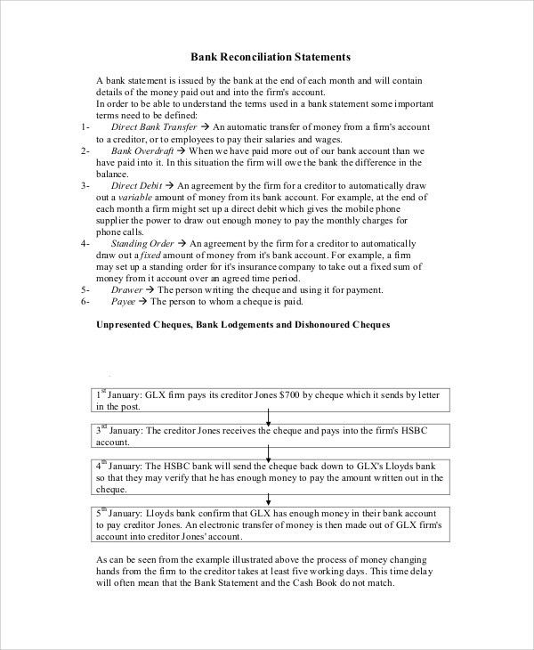 Sample Bank Statement - 6+ Documents in PDF