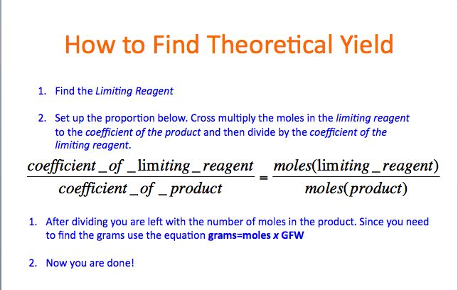 Theoretical Yield - Lyons Rawr For Chemistry: Finding The Limiting ...