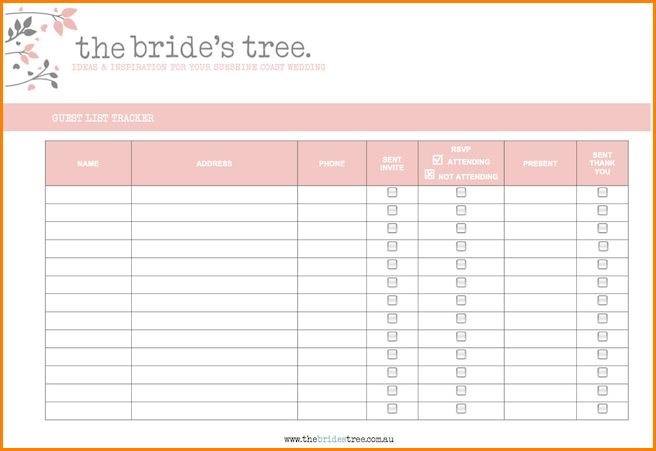 2+ wedding guest list printable | wedding spreadsheet