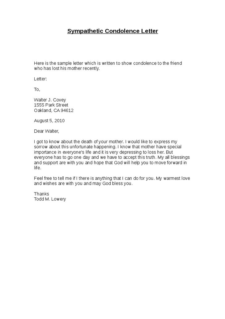 Simple and Easy to Use Condolence Letter Examples for Your ...