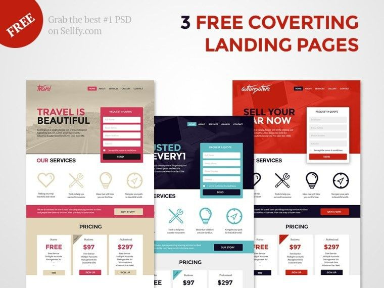 25 Free PSD Landing Pages Templates for creative and important ...