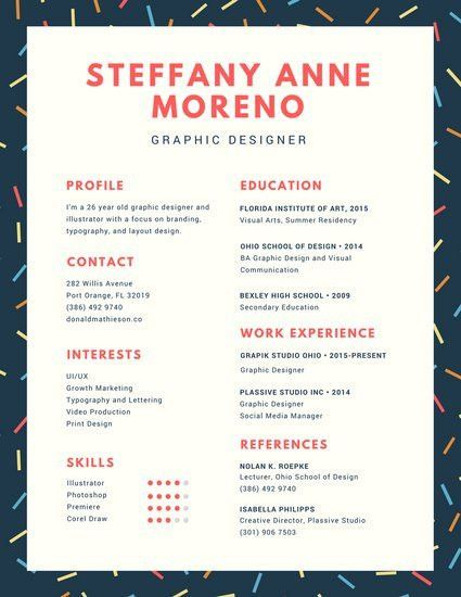 Navy Blue Colorful Sprinkles Creative Resume - Templates by Canva