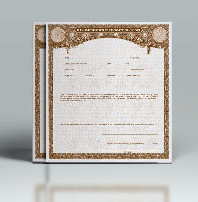 Buy Manufacturer Certificate of Origin's • MCO/MSO Paper ...