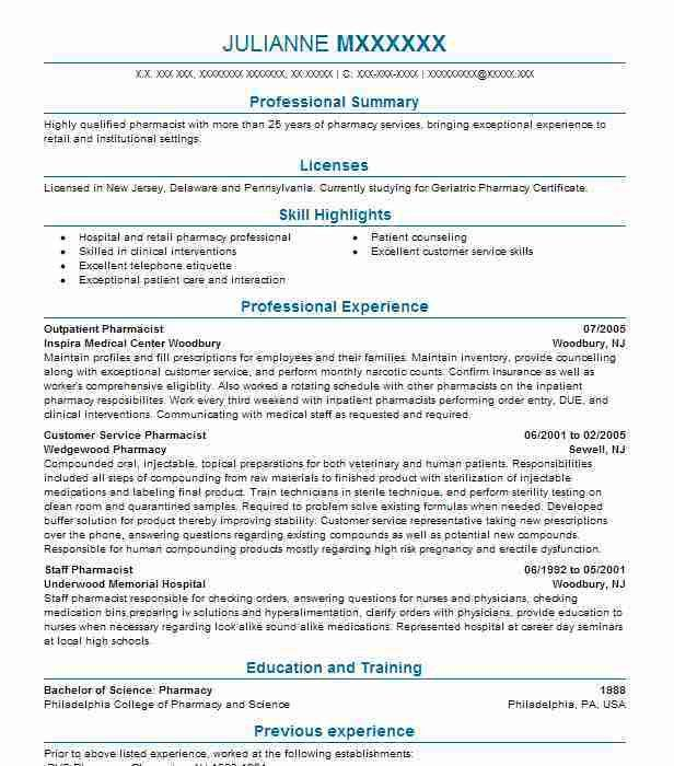 Best Pharmacist Resume Example | LiveCareer