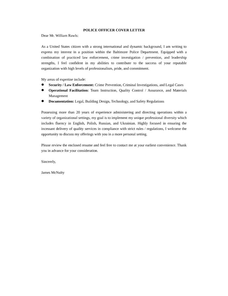 Basic International Police Officer Cover Letter Samples and Templates