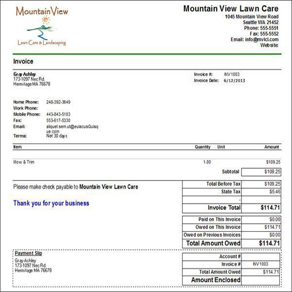 Download Invoice Template for Yard Work | rabitah.net